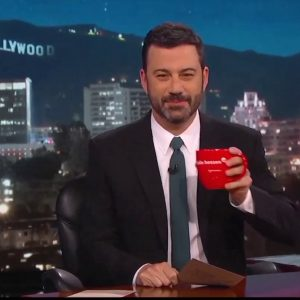 jimmy kimmel at desk