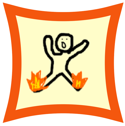illustration of a stick figure with his feet on fire