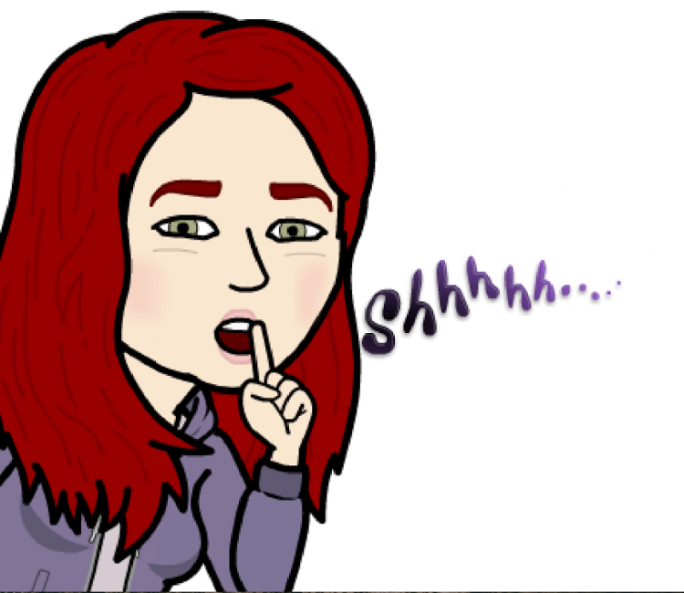 bitmoji of woman saying 'shhh...'