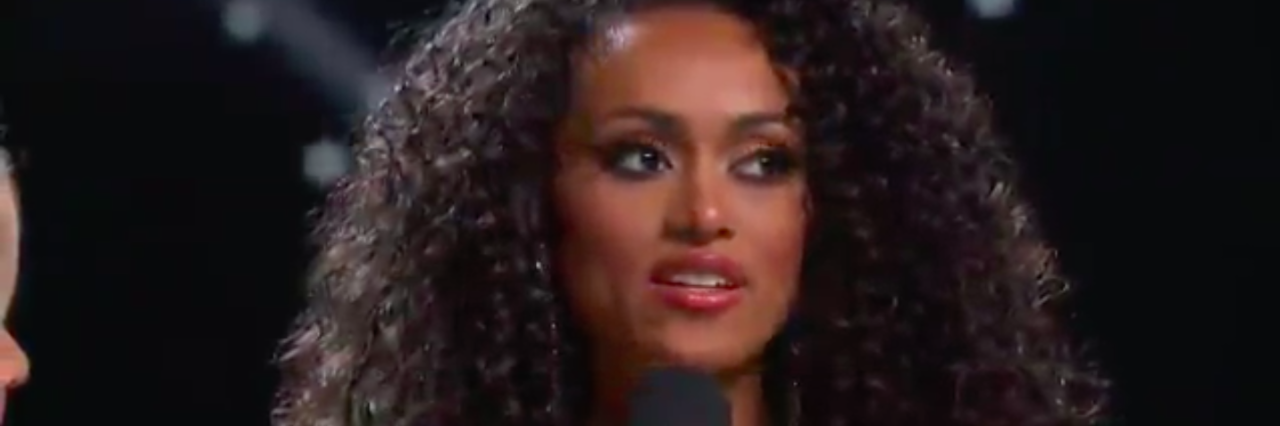 Photo of Miss USA answering healthcare question