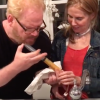 jim gaffigan using a syringe to inject his wife's feeding tube
