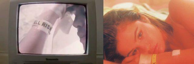 """Stills from Selena Gomez's music video showing her """"fall risk"""" bracelet."""