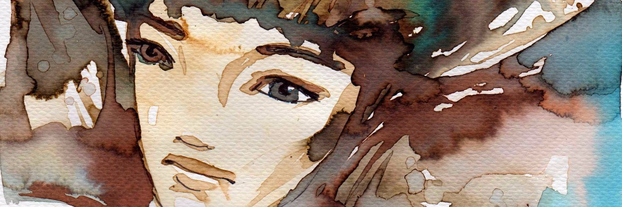 Water color image of a woman with brown hair.
