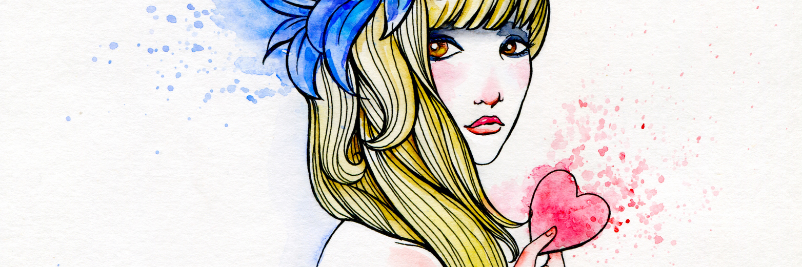 Watercolor and ink portrait of a girl holding a heart.