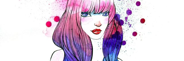 Stylish Illustration of a Girl with Purple Hair.