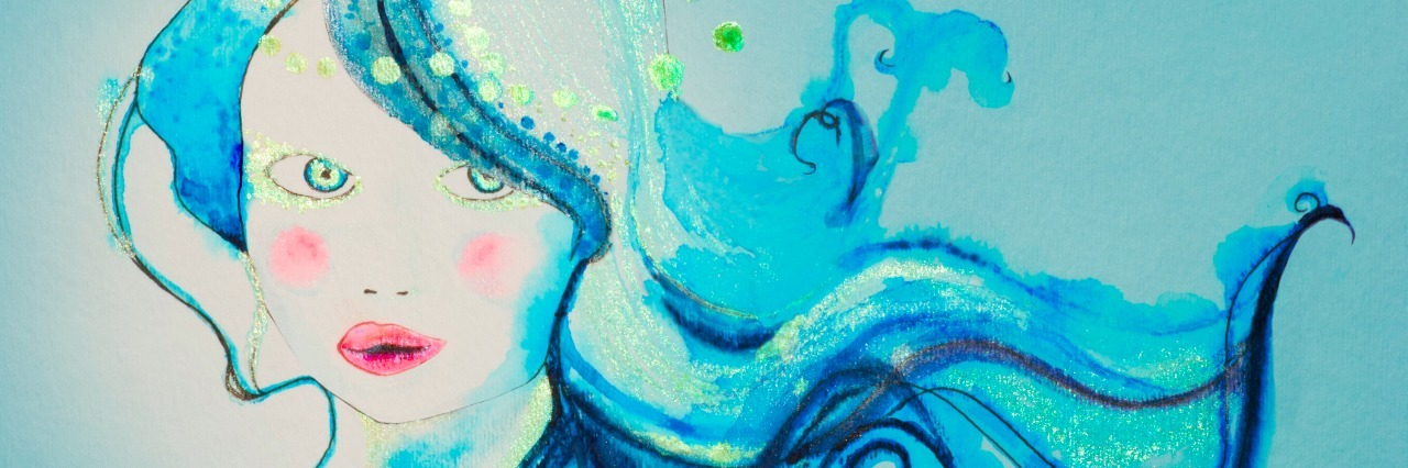 whimsical in blue, Painting done by photographer