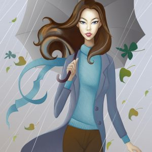 A woman walks through the rain with an umbrella, as leaves blow in the air around her.