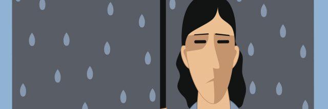 Sad man under umbrella, raining inside, vector cartoon, no transparencies