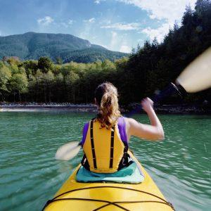 A woman kayaking
