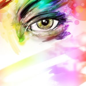 colorful illustration of a woman's eye