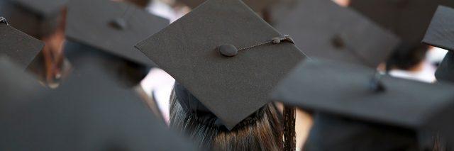 In-crowd shot during graduation, taken of graduates.