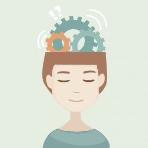 Man head with gears signs. Generation of ideas. Thinking human head. Flat modern design vector illustration.