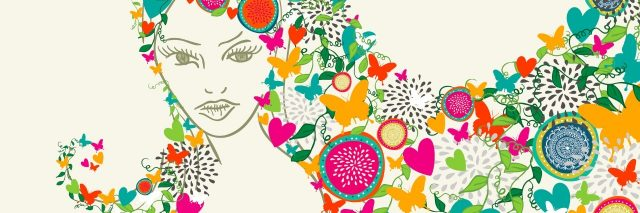 Beautiful woman, flowers and butterfly season hair composition. Vector illustration layered for easy manipulation and custom coloring.
