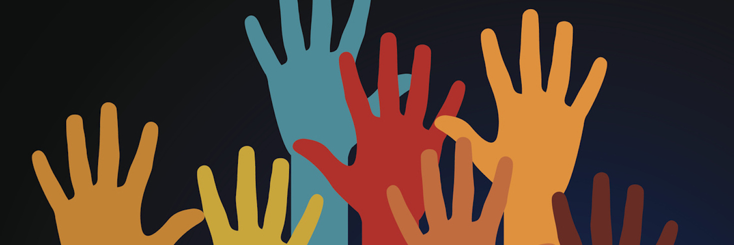 Colorful illustration of raised hands