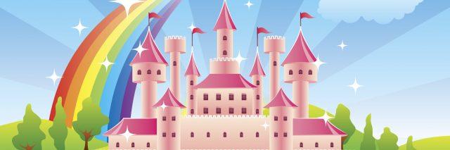 cartoon pink castle in a fairytale world