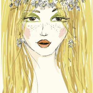 Sketch of blonde woman with flower headband.