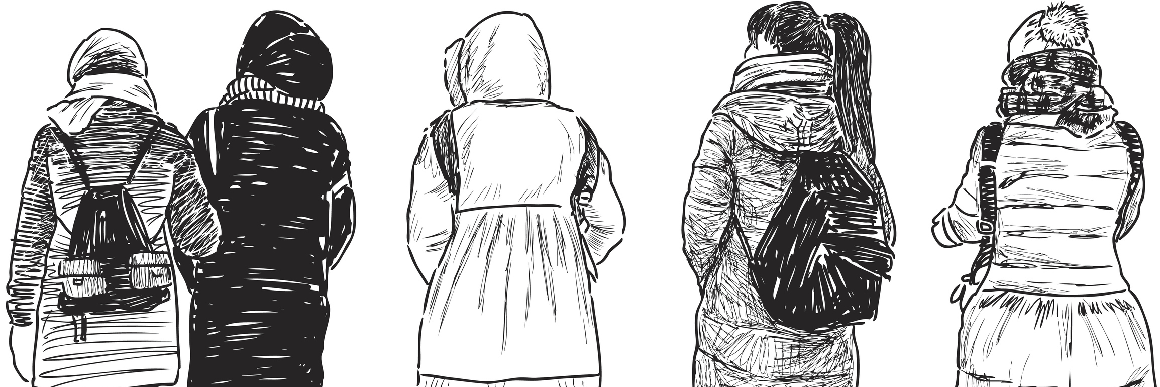 Vector drawing of the walking teenagers.