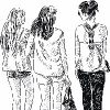 Three young girls walking together, sketched.