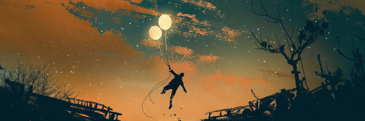 An illustration of a man with balloons