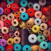 Large amount of different colored sewing thread