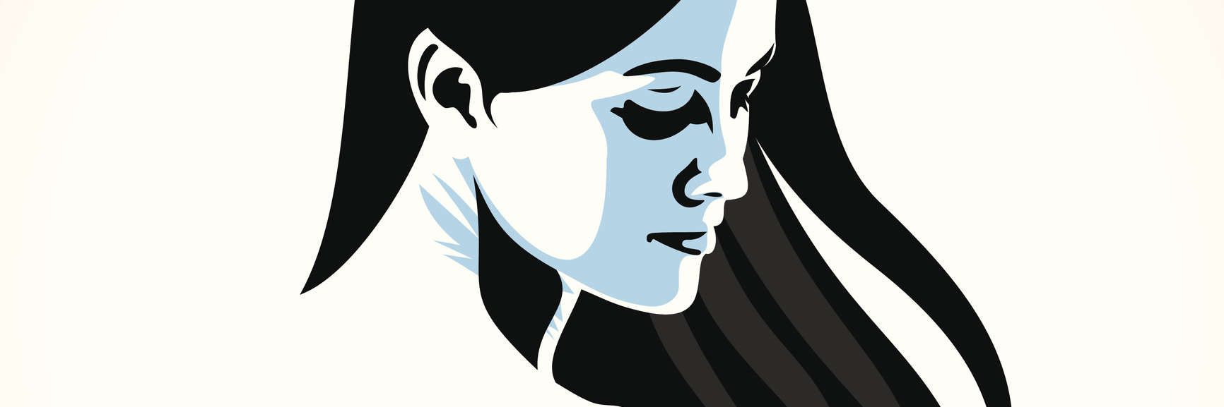 illustration of woman looking over her shoulder