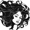 Woman with long hair, drawn.