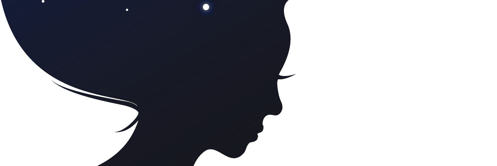 Isolated woman head with long hear looks like evening sky
