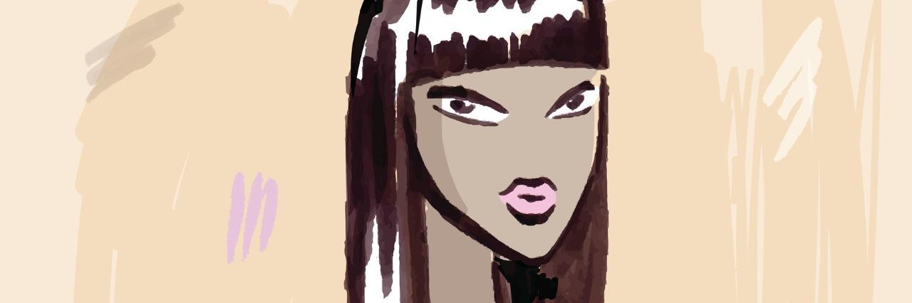 African American woman, drawn.