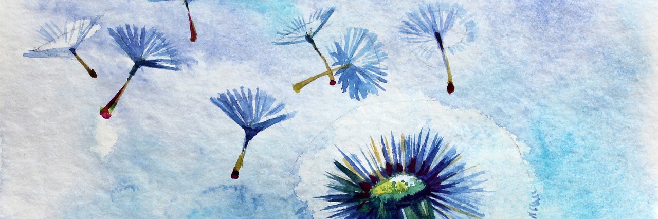 Watercolor summer dandelion on a blue background water colored.