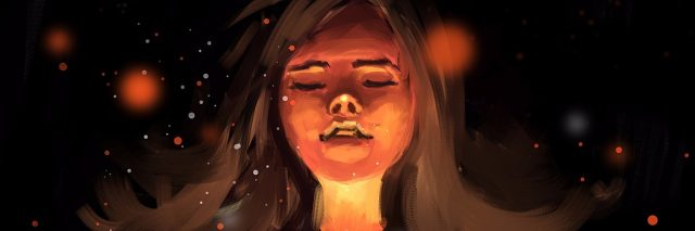 Digital painting of a girl with light around her, with her heart also lit up.