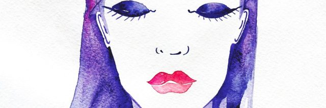 Water colored woman with purple hair.