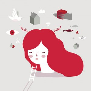 Vector illustration of a girl on psychotherapy. Dream Head. Psychology illustration.