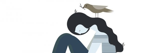 illustration of woman curled up with birds around her