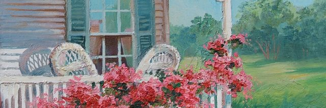 Oil painting of a house, with blue shutters and white chairs on porch.