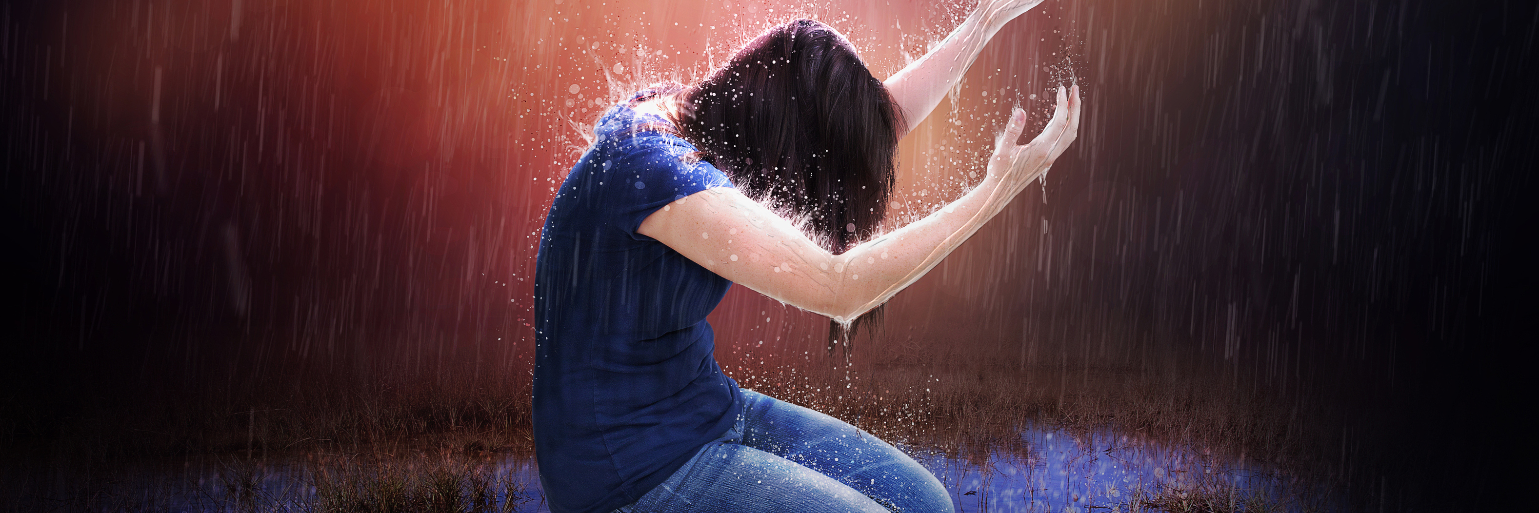 illustration of woman kneeling on ground with arms raised during rain storm