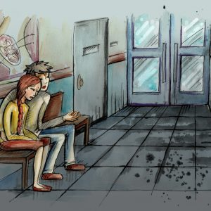 Watercolor illustration of people sitting on the bench in corridor. Hand drawn illustration digitally colored