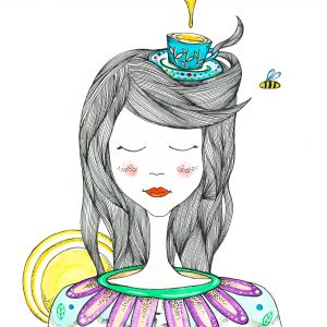 watercolor illustration of girl dreaming of sweet tea on a sunny day