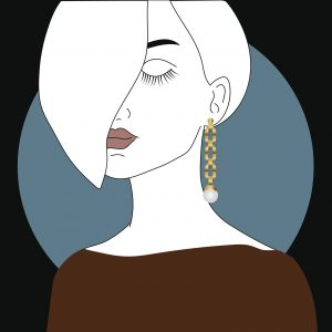 illustration of woman with short hair and pearl earring