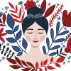 illustration of a woman with red and blue flowers around her