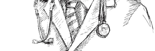 Sketched close-up of a doctor's lab coat and stethoscope