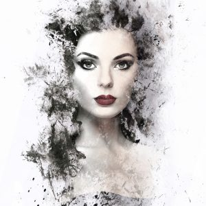 watercolor image of a woman with dark makeup
