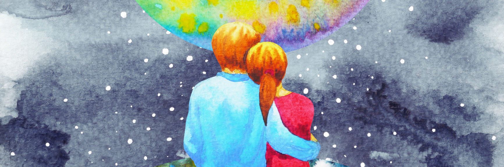 lovers couple sweet in the universe watercolor painting hand drawn