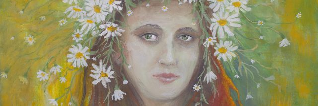 Illustration of a woman with flowers around her head