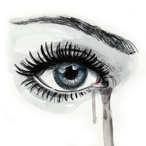 Watercolor sketch of a beautiful crying female eye
