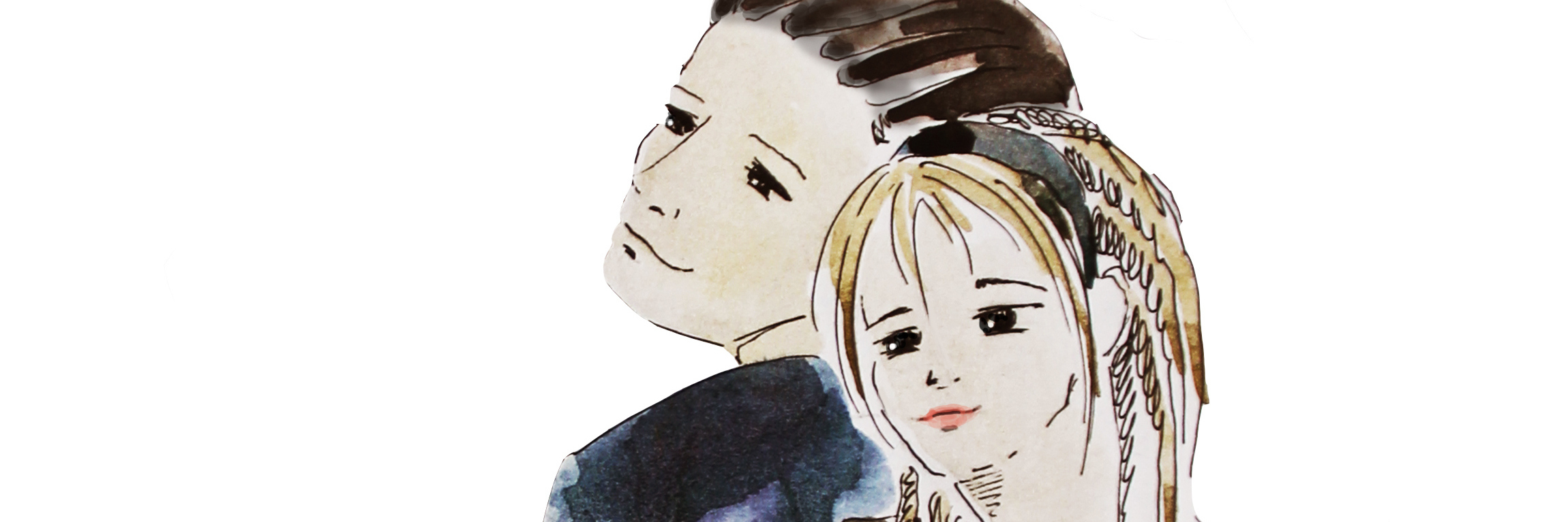 Hand drawn young couple friendship, watercolor illustration