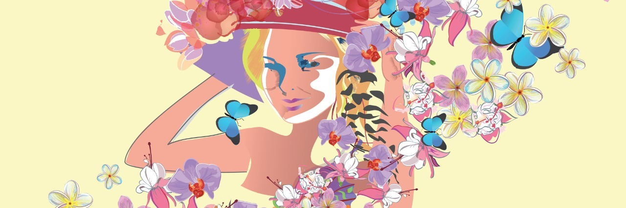 illustration of a woman wearing a hat and surrounded by flowers