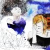watercolor drawing of two girls
