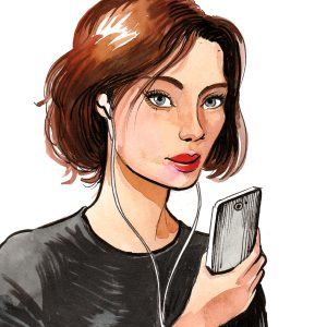 Watercolor sketch of a pretty woman holding a smartphone