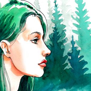 watercolor painting of a woman with green hair in front of trees