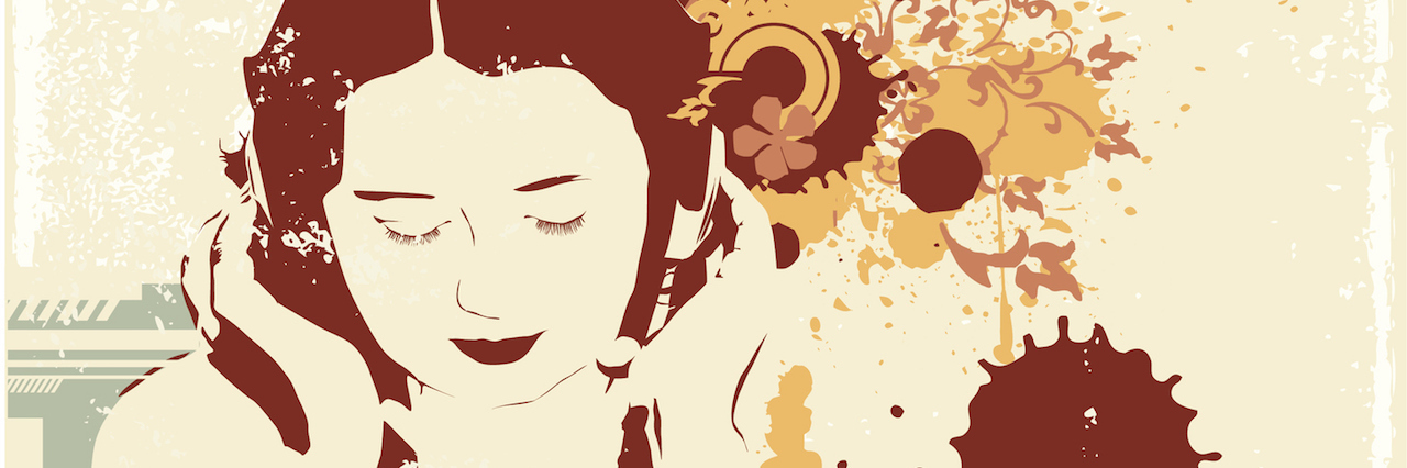 illutraton of a woman listening to music